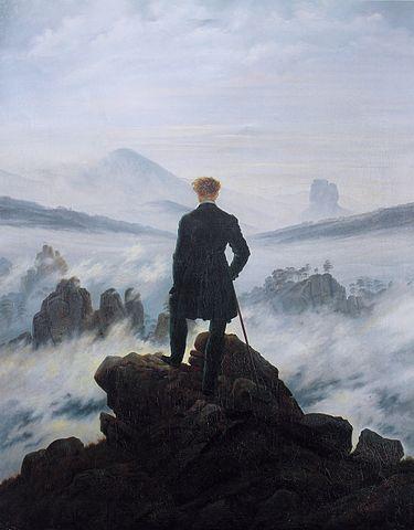 Der Wanderer über dem Nebelmeer von Caspar David Friedrich, 1818