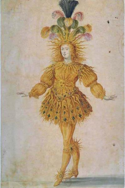 "Ludwig XIV. in der Hauptrolle der aufsteigenden Sonne im ""Ballet royal de la nuit"" 1653"