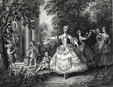 Marie Sallé mit den drei Grazien von Nicolas Lancret
